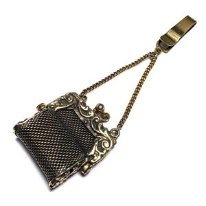 ANTIQUE VICTORIAN Brass Coin Purse Bag Chatelaine